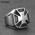 YANGQI Stainless Steel Knight Templar Cross Ring for Men <b>Antique</b> Silver Punk Biker <b>Jewelry</b> Male Lucky Religious <b>Jewelry</b> Gifts