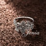 Jenia Brand <b>Antique</b> Silver Color flower Pattern Signet Ring Marcasite <b>Jewelry</b> for Women (XR210)