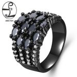 ZHE FAN Marquise Cut AAA Cubic Zirconia Women Ring Black Color Plating <b>Jewelry</b> Party Neo-gothic New Year Gift Size 6-9