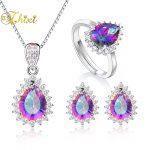 ZHIXI 925 Sterling <b>Silver</b> Jewelry Topaz Necklace Pendant Rings <b>Earrings</b> Rainbow Multi-colour Wedding Jewelry Set For Women T239