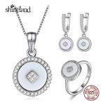Shineland Elegant White&Black Shell Round Necklace Pendant/<b>Earring</b>/Ring For Women 925 Sterling <b>Silver</b> Jewelry Set Wedding Bijoux