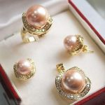real Women's Wedding >> 10mm &14mm pink South sea Shell Pearl Earrings Necklace Ring size 7 8 9