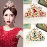 Vintage Green Red Crystal Tiaras Crowns <b>Wedding</b> Bride Hair Ornaments Bridal Gold Crown Party Head[oece <b>Jewelry</b> Accessory CR111