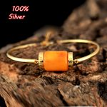 100% <b>Silver</b> Sterling 925 Gold plated gold <b>bracelet</b> Fittings with bangles beaded amber turquoise pearl