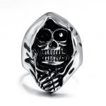 LINSOIR 2017 Vintage Retro Rock Skull Rings for Men Hip Hop <b>Antique</b> Silver Color 316L Stainless Steel Ring Men Male <b>Jewelry</b>