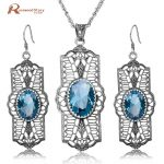 Cheap Wedding Set Classic Blue Rhinestone Real 925 Sterling <b>Silver</b> Jewelry Sets For Women Pendant/<b>Earrings</b>/ Free Gift Box
