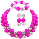 Fuchsia Pink Hot Pink <b>Silver</b> Ball Nigerian Wedding African Beads Jewelry Set Simulated Pearl Custume Necklaces Beads Sets 46JQ17