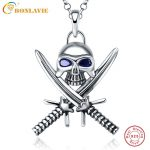 1 Piece 925 <b>Sterling</b> <b>Silver</b> Halloween Vintage Punk Gothic Necklace Double Knife Skull Necklace Pirate <b>Jewelry</b> Sapphire for Women