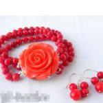 Women's Wedding 3Strands 6MM Round Coral Bracelet Earring Set real silver-<b>jewelry</b> silver-<b>jewelry</b>