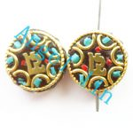 (5 pieces/lot)Nepal Tibetan Type Manual <b>Antique</b> Bead, Flat Round Brass Embed Imitation Turquoises H64460 16x7mm