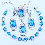 L&B Pur Love Women Sky Blue Zirconia Crystal 925 Sterling <b>Silver</b> Jewelry Sets Women <b>Bracelets</b>/Pendant/Necklace/Ring/Earrings