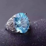 Natural blue topaz stone Ring Natural gemstone Ring S925 <b>sterling</b> <b>silver</b> trendy Elegant big round women girl gift <b>Jewelry</b>