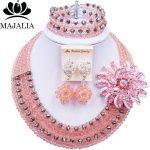 Majalia Peach and <b>Silver</b> Crystal Beaded Pretty African Jewelery Set Nigerian Wedding Clothing Jewelery Sets 5ST0017