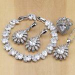 Trendy Drop White CZ 925 Sterling <b>Silver</b> Jewelry Sets For Women Earrings/Pendant/Necklace/Rings/<b>Bracelet</b>