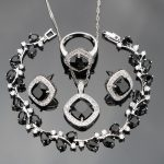 2017 Black Cubic Zirconia White Rhinestones 925 Sterling Silver <b>Jewelry</b> Sets For Women Earrings/Pendant/Necklace/Rings/Bracelets