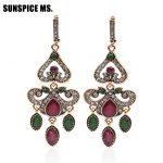 Classic Indian Women Long Hook Vintage Earring <b>Antique</b> Gold Color Resin Flower Heart Drop Earrings Ethnic Wedding Retro <b>Jewelry</b>
