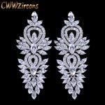 CWWZircons Vintage Wedding Party <b>Jewelry</b> Accessories Gorgeous Cubic Zirconia Big Long Luxury Bridal Earring For Women CZ309