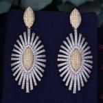 GODKI 68mm Luxury Trendy Fireworks Cubic Zirconia Naija <b>Wedding</b> Party Earring Fashion <b>Jewelry</b> for Women