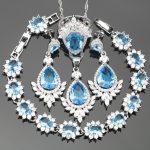 Sky Blue Cubic Zirconia <b>Silver</b> 925 Costume Jewelry Sets For Women Earrings/Pendant/Necklace/Rings/<b>Bracelets</b> Free Gift Box