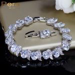 Pera Luxury 925 Sterling Silver Bridal Wedding Party <b>Jewelry</b> Super White Cubic Zirconia Chain & Link Bracelet For Brides B081
