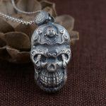 FNJ 925 Silver Buddha Pendant New Fashion Punk Skull 100% Pure S990 Solid Thai Silver Pendants for Women Men <b>Jewelry</b> <b>Making</b>