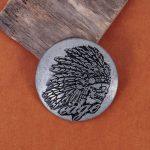 35mm10pcs Tow-tone Southeast <b>American</b> <b>Native</b> Navajo Indian Chief Head Leathercraft Saddles Conchos Set Wallet Belt RIvet Back
