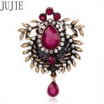 JUJIE Fashion Flower Brooches Multicolor Crystal Glass Brooches For Women Scarf Lapel <b>Antique</b> Gold Brooch Water Drop <b>Jewelry</b>