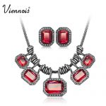 Viennois <b>Silver</b> Gun Plated Crystal Jewelry Set for Woman White Red Chain Necklaces & Stud <b>Earrings</b> Luxury Party Jewelry