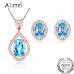 Almei Rose Gold Color Blue Topaz Rhinestone .925 Sterling <b>Silver</b> Jewelry Set Include 2 Pcs Eearrings + Necklace with A Box CT011
