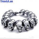 TrustyLan Punk Rock Skull Bracelet Men Stainless Steel Skeleton Best Friend Men's Bracelets & Bangles Male <b>Jewelry</b> Armband Gifts