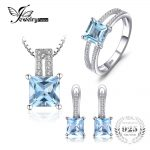 JewelryPalace 2.8ct Princess Cut Sky Blue Topaz Wedding Anniversary Ring Pendant Necklace Hoop <b>Earrings</b> 925 <b>Silver</b> Jewelry Sets