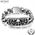 MetJakt Men's Punk Skull <b>Bracelet</b> & Hand-embossed Skeleton Solid 925 Sterling <b>Silver</b> <b>Bracelet</b> for Male Biker Vintage Thai <b>Silver</b>