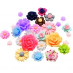 fityle 50Pcs Assorted Colors Size Resin Rose Flower Flatback Cabochons for <b>Jewellery</b> <b>Decoration</b> Phone Case DIY Scrapbooking