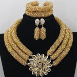 Chunky Gold Crystal Beads Women Necklace Bridal Fashion <b>Jewelry</b> <b>Wedding</b> African Beads <b>Jewelry</b> Set 2017 Free Shipping ABF470