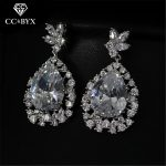 CC stud earrings for women shine cz high quality bride wedding <b>accessories</b> engagement sliver <b>jewelry</b> gift water drop shape E0021