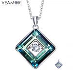 Veamor 925 sterling <b>silver</b> purple/blue cube square pendants <b>necklaces</b> with movement of the stone jewelry crystals from Austria