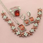Red Green Pink Yellow Rainbow Square Stone Silver Color <b>Jewelry</b> Sets For Women Drop Earrings Pendant Ring Bracelet Free Gift Box