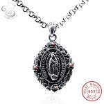 Women Men bilateral Jesus Cross Pendant Beads <b>Jewelry</b> Genuine 925 Silver <b>Necklace</b> Vintage Fine Statement Holiday Accessories