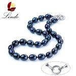 Lindo Fashion Black Natural Freshwater Pearl Necklaces For Women Big 11-12mm Good Quality Pearl <b>Jewelry</b> 925 <b>Sterling</b> <b>Silver</b> 45cm
