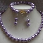 Prett Lovely Women's Wedding 10MM round lavender south sea shell pearl necklace Bracelet Earring SET