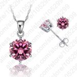 JEXXI Classic 8 Colors Cubic Zirconia Genuine 925 Sterling Silver <b>Jewelry</b> Sets 6 Claws Stud Earring Pendant Necklace 18″ Chain
