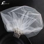 Fashion Rhinestone Bridal Hair Comb With White Bridal Veil Headpiece <b>Wedding</b> Hair Accessories Bridal Hair <b>Jewelry</b>