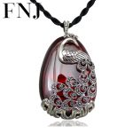 FNJ 925 <b>Silver</b> Peacock Pendant Red Zircon Yellow Chalcedony Stone S925 Original Thai <b>Silver</b> Pendants for Women <b>Jewelry</b> Making