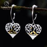 Lotus Fun Real 925 <b>Sterling</b> <b>Silver</b> Handmade Fine <b>Jewelry</b> Romantic Bird in Love Heart Shape Drop Earrings for Women