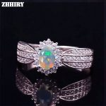 ZHHIRY Genuine Opal Ring Natural Gemstone Fire Color Solid 925 <b>Sterling</b> <b>Silver</b> Rings Woman Fine <b>jewelry</b>