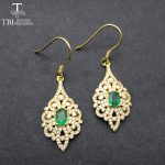 TBJ,Classic Natural Green Emerald hook <b>earring</b> in 925 sterling <b>silver</b> yellow gold color gemstone fine jewelry with gift box