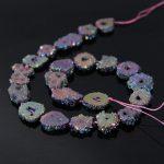 AAA-Grade 15.5″Strands Rainbow Titanium Druzy Quartz Geode Beads,Raw Crystal Drusy Slab Round Pendant Beads <b>Jewelry</b> <b>Making</b>