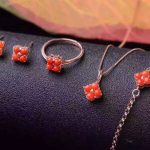 Natural red coral gem jewelry sets natural gemstone Bracelet Pendant <b>Earrings</b> ring 925 <b>silver</b> Lucky clover women fine jewelry