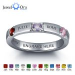 Personalized 925 Sterling Silver CZ Name Ring DIY Birthstone Ring Customize <b>Jewelry</b> for women Best Gift (JewelOra RI101978)