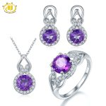 Hutang Natural Amethyst Solid 925 Sterling <b>Silver</b> Jewerly Sets <b>Earrings</b> Pendant Ring Gemstone Fine Jewelry High Quality 2017